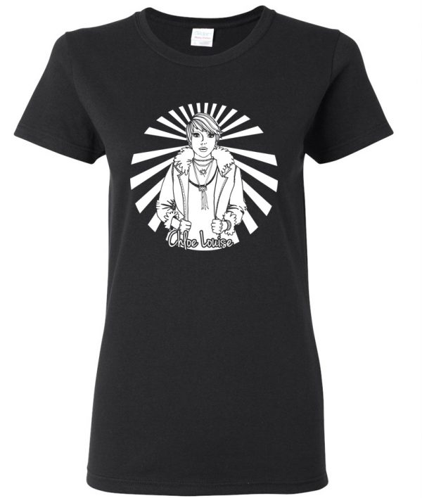Chloe Louise black cotton tee in womens style